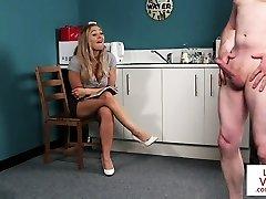 Busty british voyeur instructing man with joi