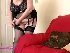 Steaming Grandma in retro garter and stockings