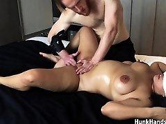 20 yo Japanese First-timer gf CHOKED Squirts Big Ass Real Massage !