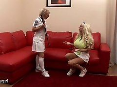 Gigantic breasted babe lezzed up by her coach