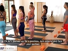 FitnessRooms Group yoga sesh ends with a sweaty creampie