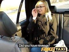 FakeTaxi Taxi driver fucks glasses blond on backseat