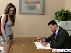 Sumptuous coed in glasses Molly Jane pummel in classroom