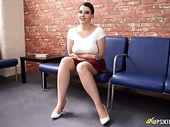 Curvaceous white spectacular babe in crimson skirt and milky tops flashes upskirt
