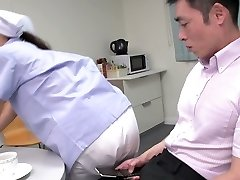 Uber-cute Japanese maid demonstrates her big tits while sucking 2 dicks (FMM)