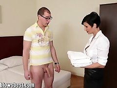MommyBB Busty euro MILF Maid inhales the motel client