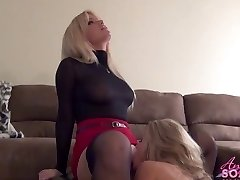Busty towheaded boss makes maid eat her cunt