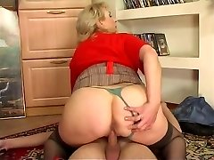 Russian busty maid fucked by youthful guy at home
