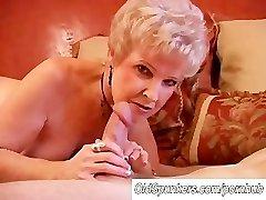 Stunning cougar deepthroats cock and eats cum