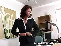 Boss girl evaluates her worker's cock at the office