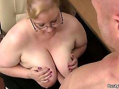 Plump massive boobs secretary rides boss spear