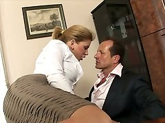 Whorey secretary with big tits Brooklyn Lee hooks up with her manager