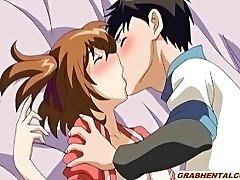 Huge-chested anime coed very first time kissing and sex