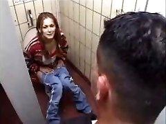 German Slut gets it on Toilet