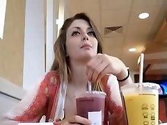 Mischievous girl at McDonalds