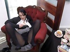 Youporn Female Director Series: Big Jug geek girl in pantyhose spunks