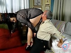 Super sexy fatty in fishnet gimp outfit gets blasted with cum
