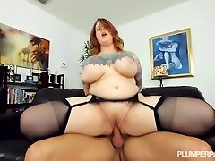 Spectacular Tattooed Plumper MILF Gets Her Stockinged Feet Fucked