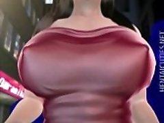Sweet 3D hentai stunner gets big jugs sucked