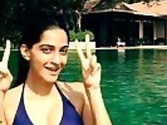 sonam kapoor bathing suit in the pool-boobsnice.blogspot.com