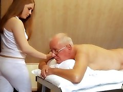 Oldman fucks young masseuse cums in her hatch