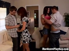 Fashionable babes fucking at swingers party