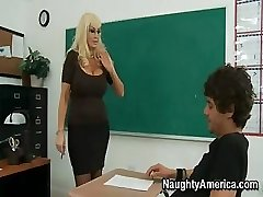 This busty blondie MILF of a teacher needs some really harsh sex