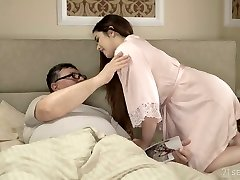 Spanish pale all-natural GF Diana Rius rides older fellow's mighty cock