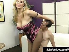 Femdom Milf Julia Ann Teases A Slave Cock With Stocking!