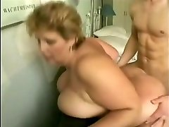 granny with big bumpers fucks young guy