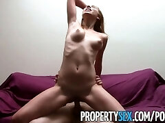 PropertySex - Nudist tenant with mesmerizing natural tits pulverizes landlord