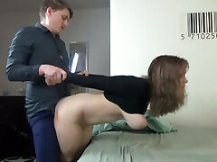 Young couple have harsh clothed sex