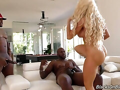 Faux tittied light-haired milf Nikki Delano is fucked hard by two black dudes