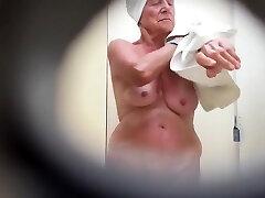 Granny's saggy tits filmed in secret