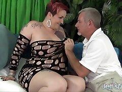 Mature plumper Selena White takes pink cigar