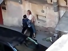 Spying a fat female get smashed from balcony