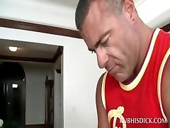 Muscled afro dude gets shaft gay mouth fucked