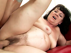 Perverse young dude enjoys fucking opened up bearded cunt of BBW in rear end style