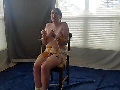 bound transgirl gets wet and filthy nacho cheese sploshing bath from big queer bear dom randy furlong
