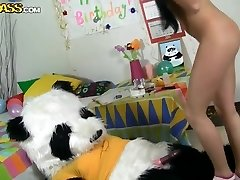 Inexperienced b-day girl fucks with her best friend panda bear