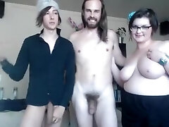 Straight and faggot and chubby gal make kinky threesome online