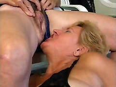Grandma piss in the throat of another granny