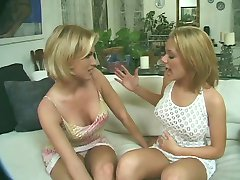Sexy blonde tranny gets her long thick cock sucked