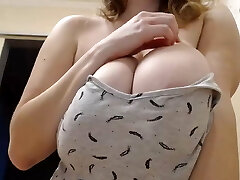 Handsome Russian Girl Shows Large Natural Boobs