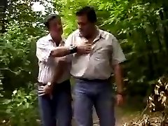 Chubby bears in woods