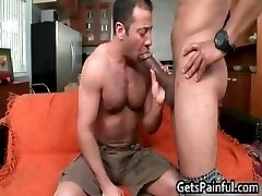 Bear having fun with massive black cock part4