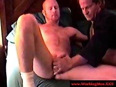 Hairy redneck masturbates and gets cocksucked