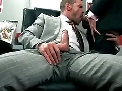 Two muscle men in suits have buttfuck sex
