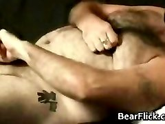 Hairy bear wanking his stiff gay penis part1