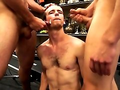 Muscle hunk banged in pawn shop by 2 guys that want his ass